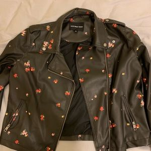 Flower leather jacket.